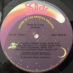 SHALAMAR:THREE FOR LOVE(LABEL SIDE-B)