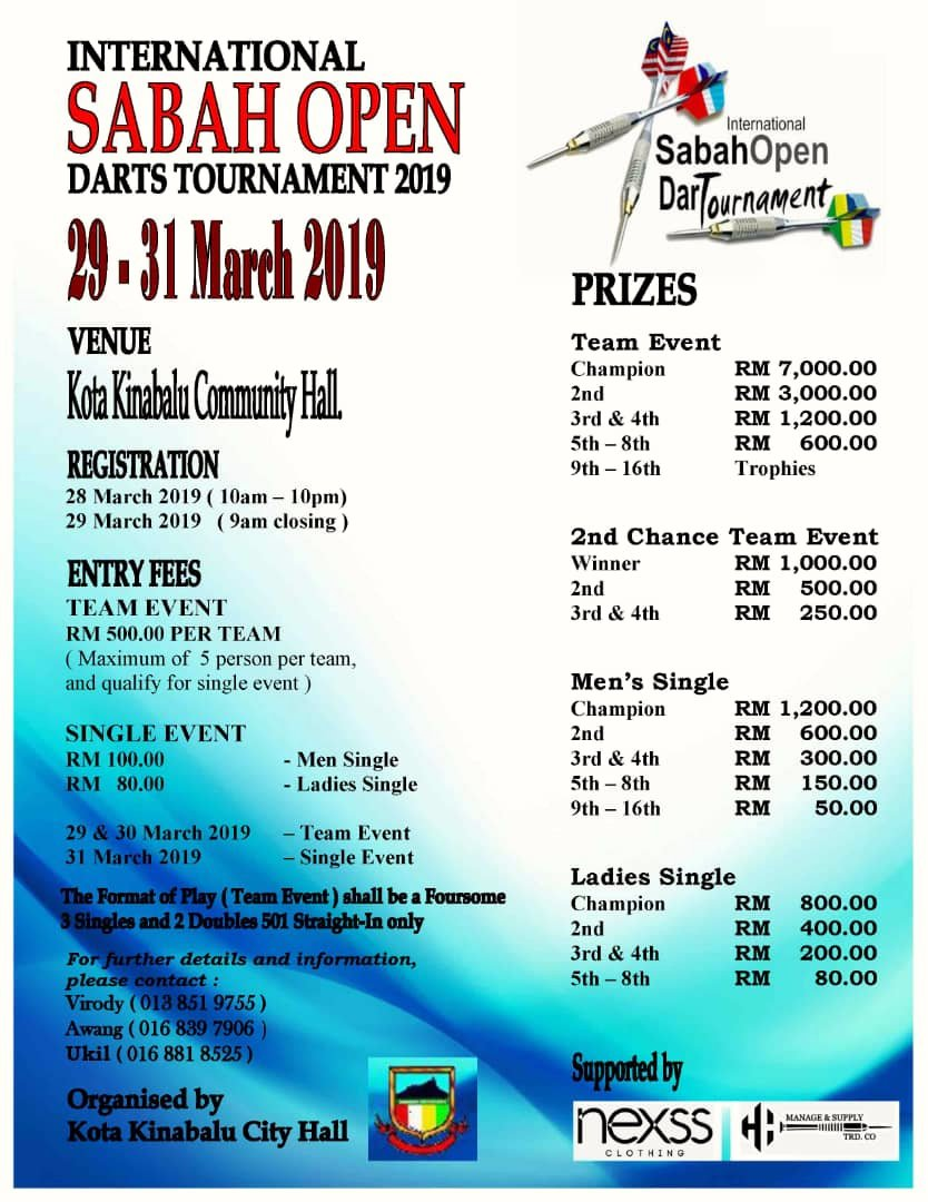 International Sabah Open Darts Tournament 2019 | Darts in Sabah