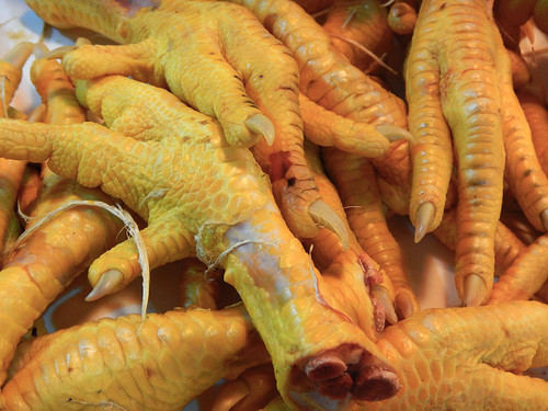 Corn-fed chicken feet for sale at the huge Merced Market in Mexico City