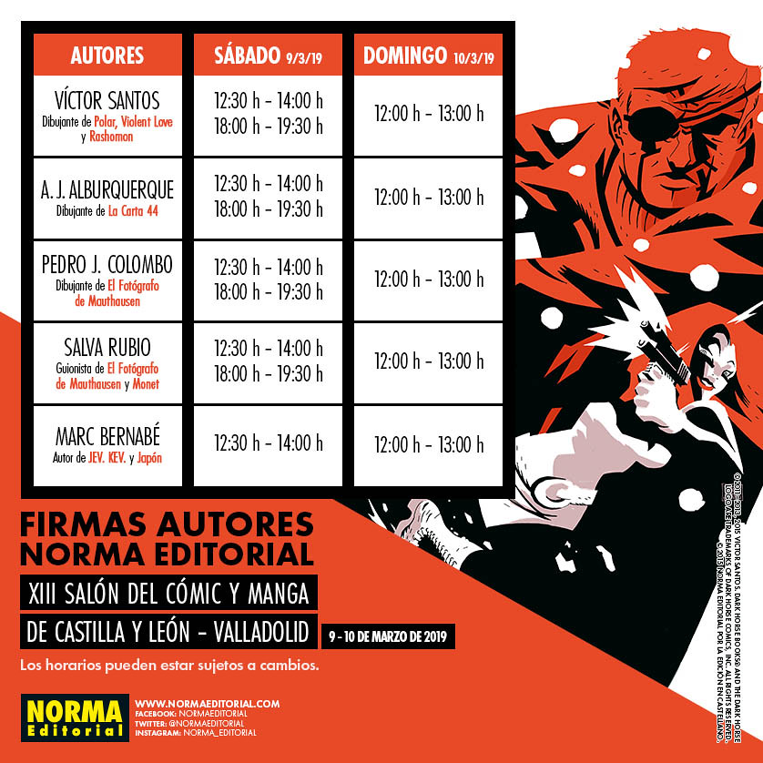 PREVIEW HORARIOS RRSS SALON MANGA Y COMIC CASTILLA LEON 2019