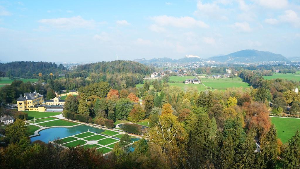 View above Hellbrunn Palace, Salzburg, Austria