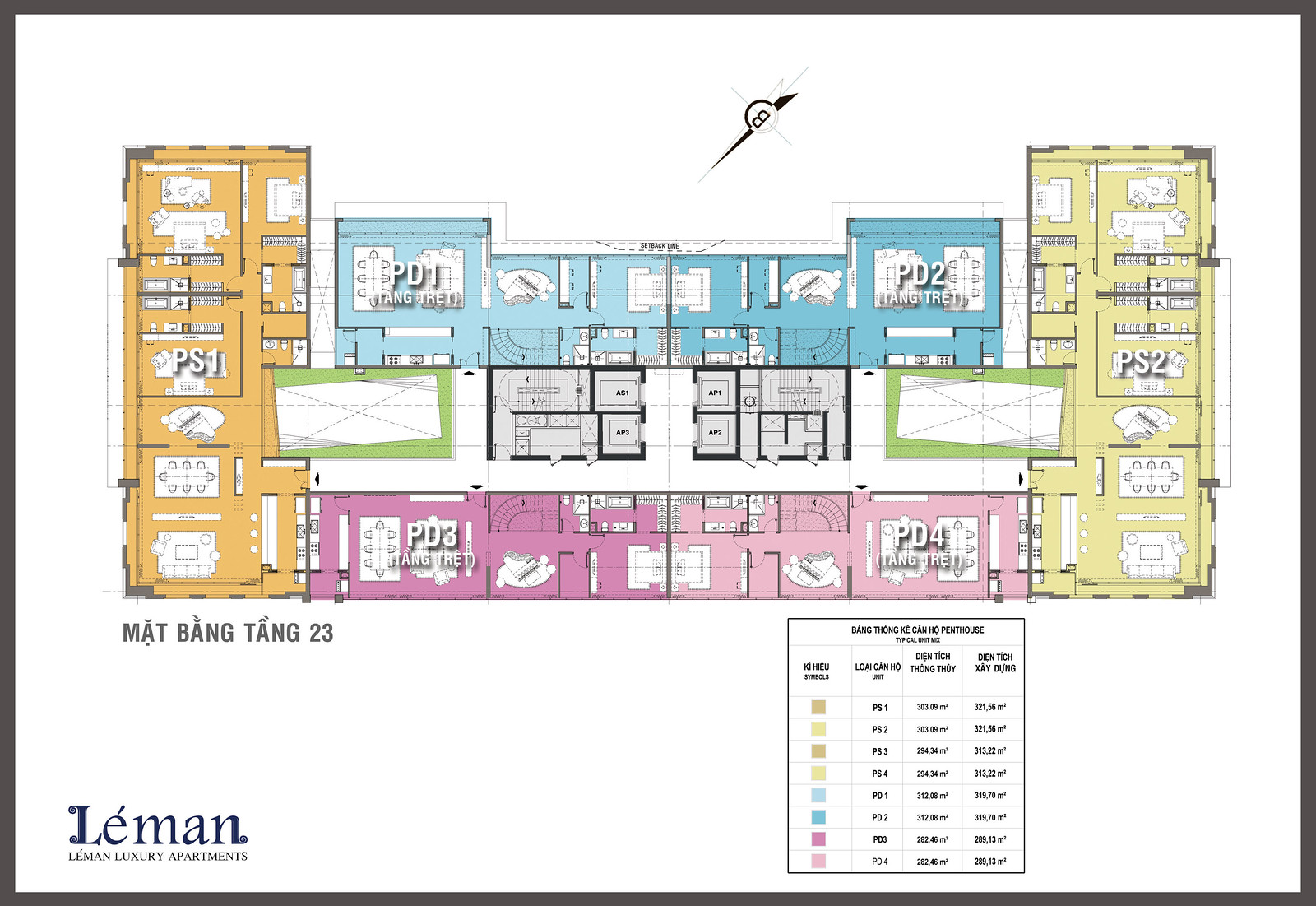 Mặt bằng tầng 23: Duplex và Penthouse