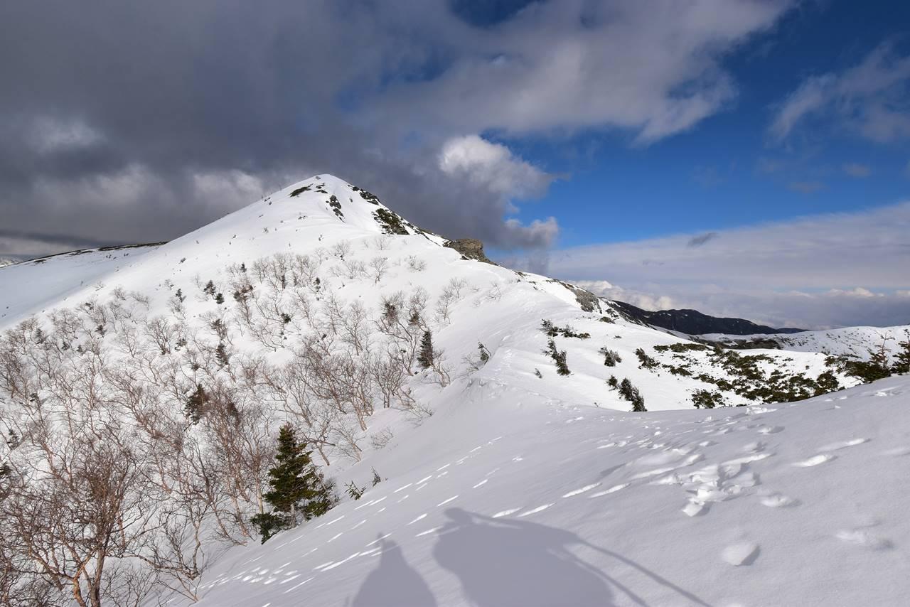 雪の南アルプス烏帽子岳