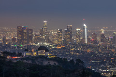 The Griffith Observatory and downtown Los Angeles in the background