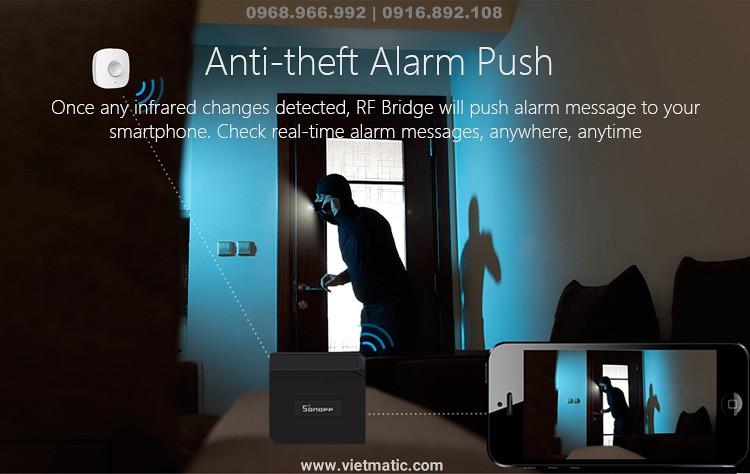 Báo động - khi có trộm (Sử dụng đi kèm với cảm biến chuyển động PIR)