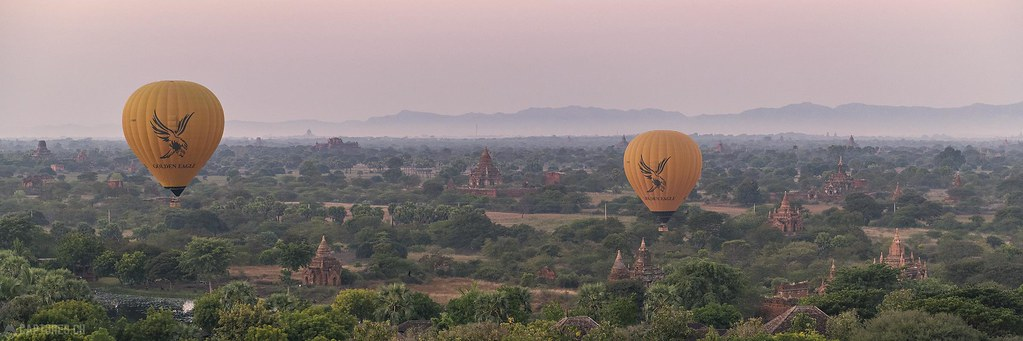 Morning flight over Bagan - Bagan