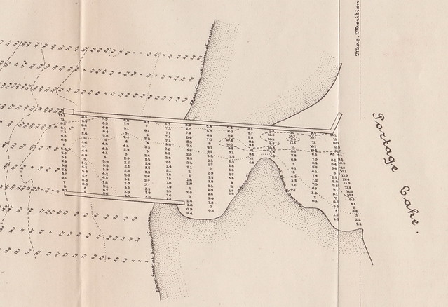 MAP EPHEMERA Onekama MI 1884 PORTAGE LAKE HARBOR & CHANNEL SOUNDINGS MAP as taken by and sign by a Captain of the Army Corps of Engineers foled thin velem paper whole and intact-
