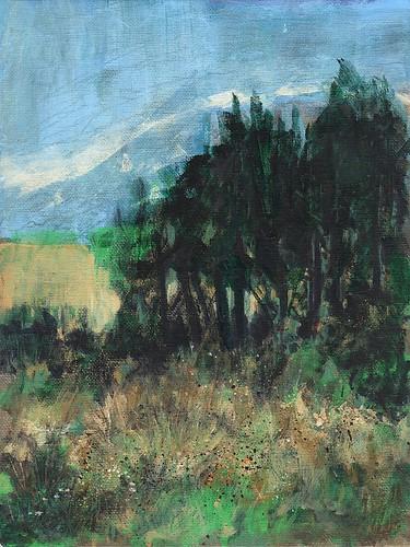 painting acrylic landscape trees