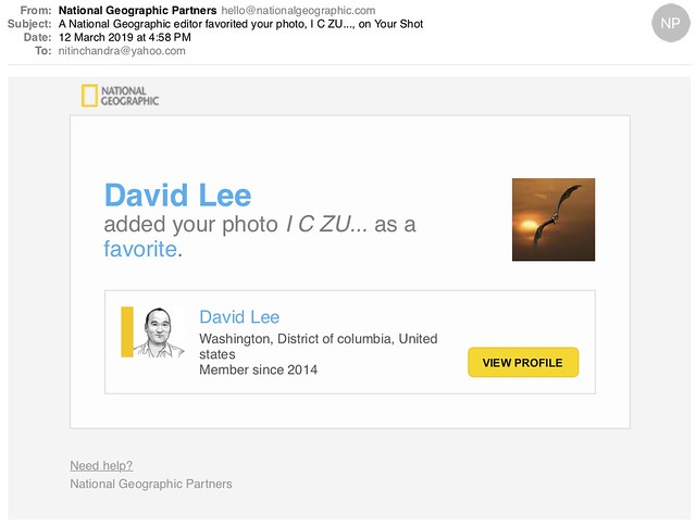 A National Geographic editor favorited your photo I C ZU on Your Shot