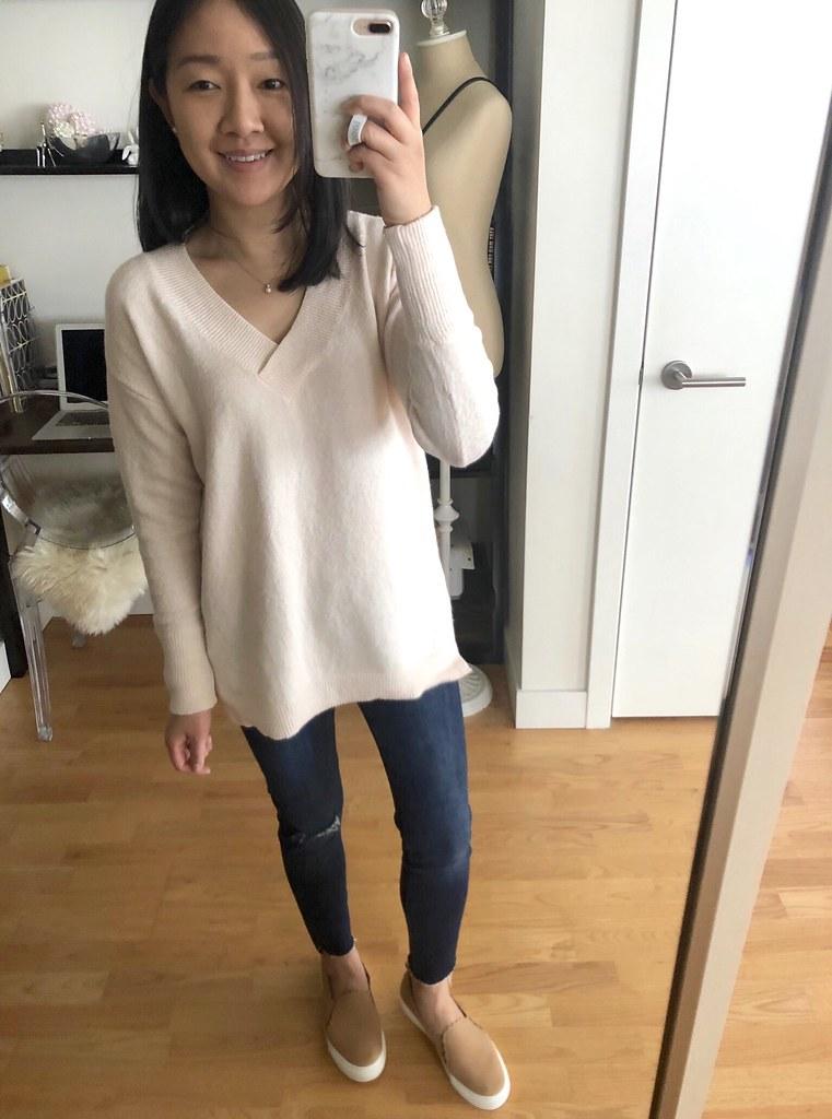 LOFT Drop Shoulder V-Neck Sweater, size XXS regular