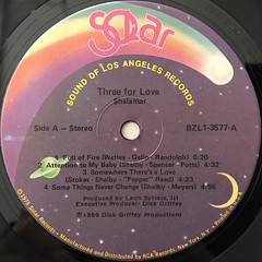 SHALAMAR:THREE FOR LOVE(LABEL SIDE-A)