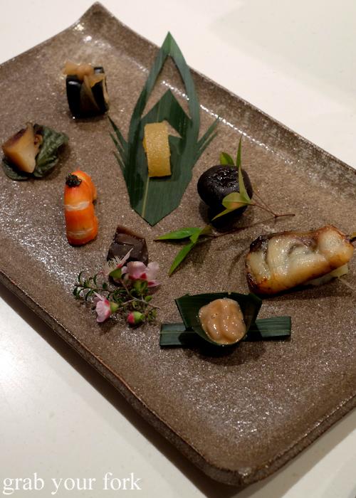 Platter of starters at the Masuya omakase in Sydney