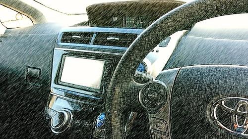 プリウスαの車内です。