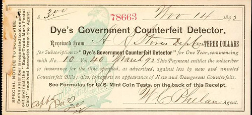 Dye's Government Counterfeit Detector Receipt