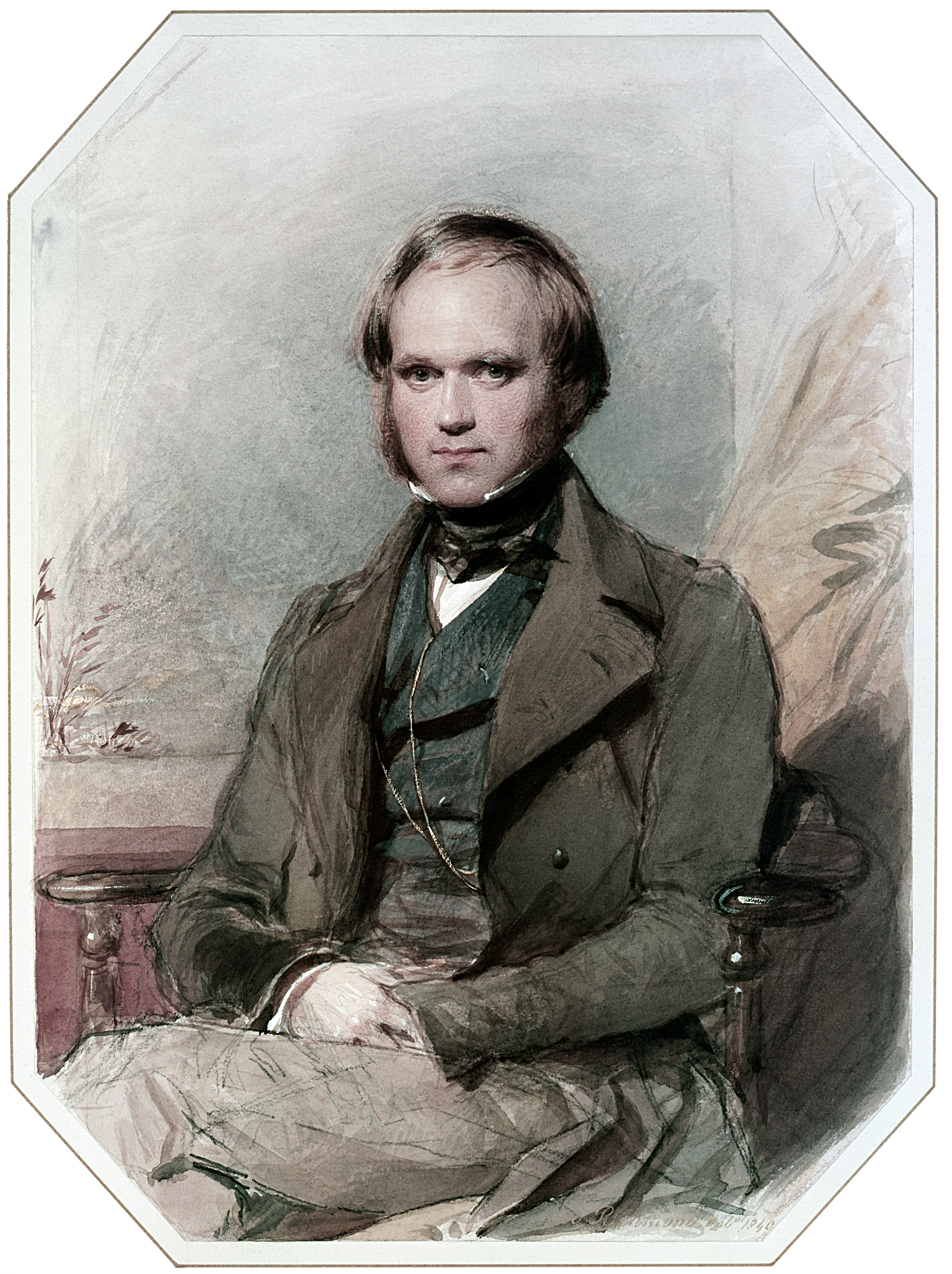 Portrait of Charles Darwin, watercolor by George Richmond, circa 1840.