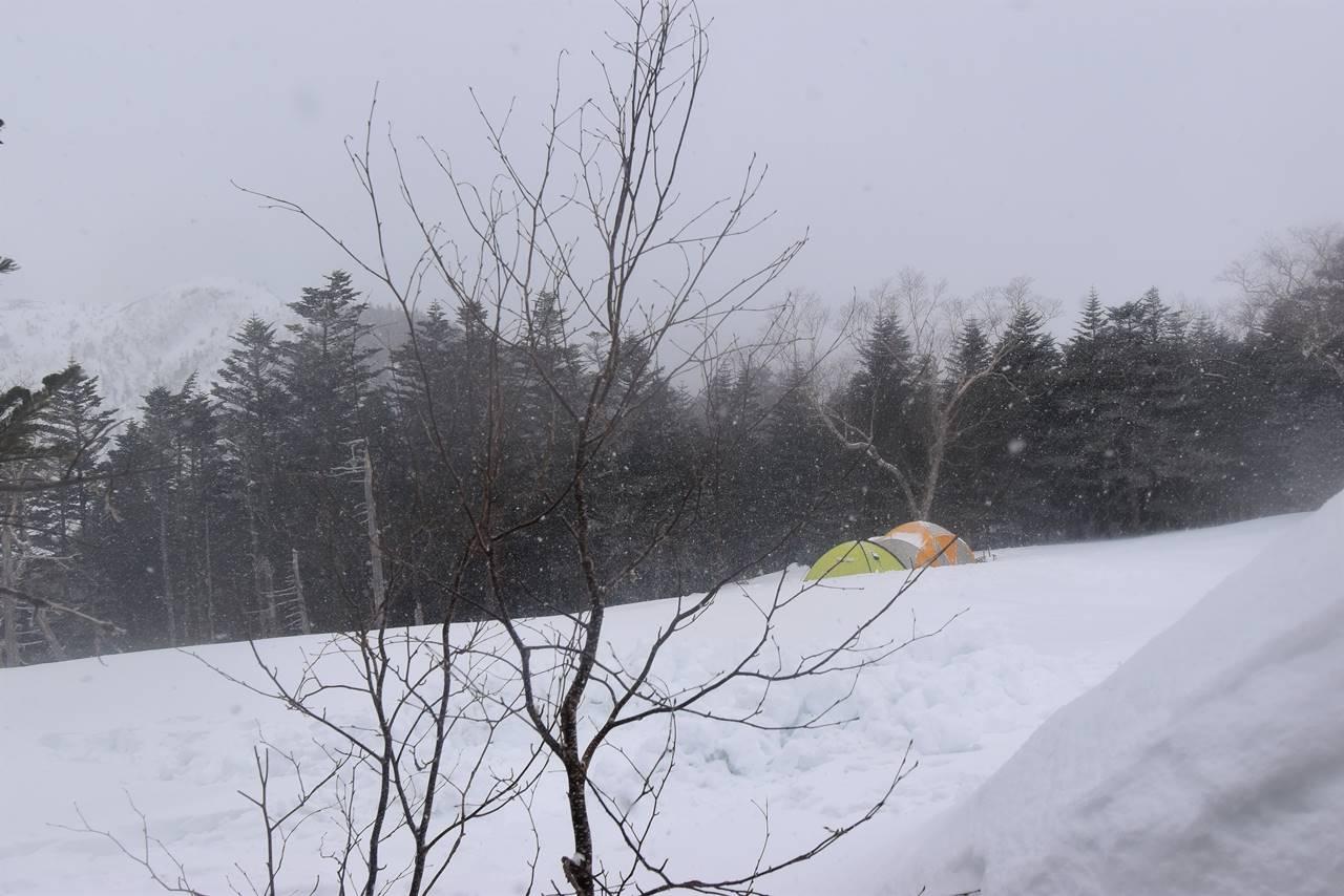 雪の三伏峠小屋のテント場