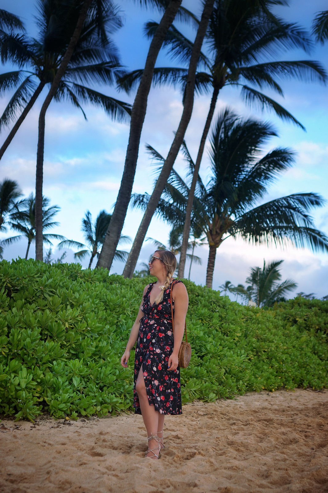 Sunset Poipu Beach Dark Floral Dress Hawaii Outfit Inspiration | Kauai Travel Guide