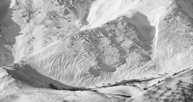 Detail of mountain near the Denali National Park Entrance
