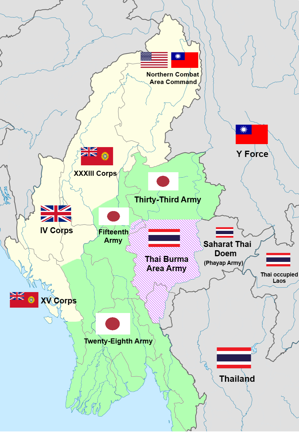 Map of the Burma front showing the conflict of Japanese-Thai and Allied forces during the Burma Campaign of World War II.
