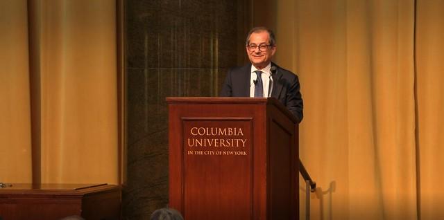 La Lectio Magistralis del ministro Tria, ospite del Premio Nobel Edmund Phelps alla Columbia University