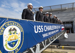 USS Charleston (LCS 18) Sailors stand at attention during the littoral combat ship's commissioning ceremony. (U.S. Navy/MC2 Natalia Murillo)