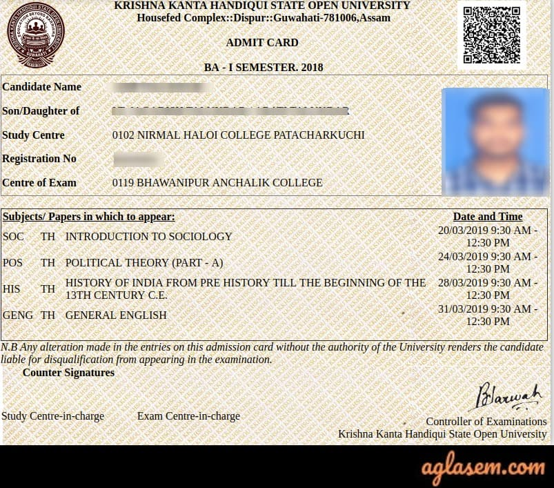 KKHSOU_Admit-Card-Aglasem