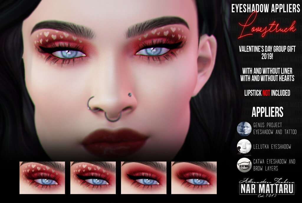 <Nar> Lovestruck Eyeshadow (Genus/Catwa/Lelutka) GROUP GIFT FEB 2019