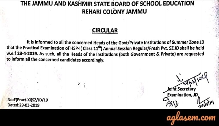 JKBOSE 11th Annual Date Sheet 2019 for Jammu Province Summer Zone