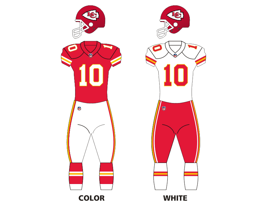 Dallas Texans and Kansas City Chiefs uniforms