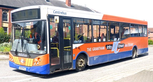 AE55 MVL 'Centrebus' No. 543, 'THE GRANTHAM INTO it TOWN BUS SERVICE'. Dennis Dart SLF / MCV Evolution on Dennis Basford's railsroadsrunways.blogspot.co.uk'