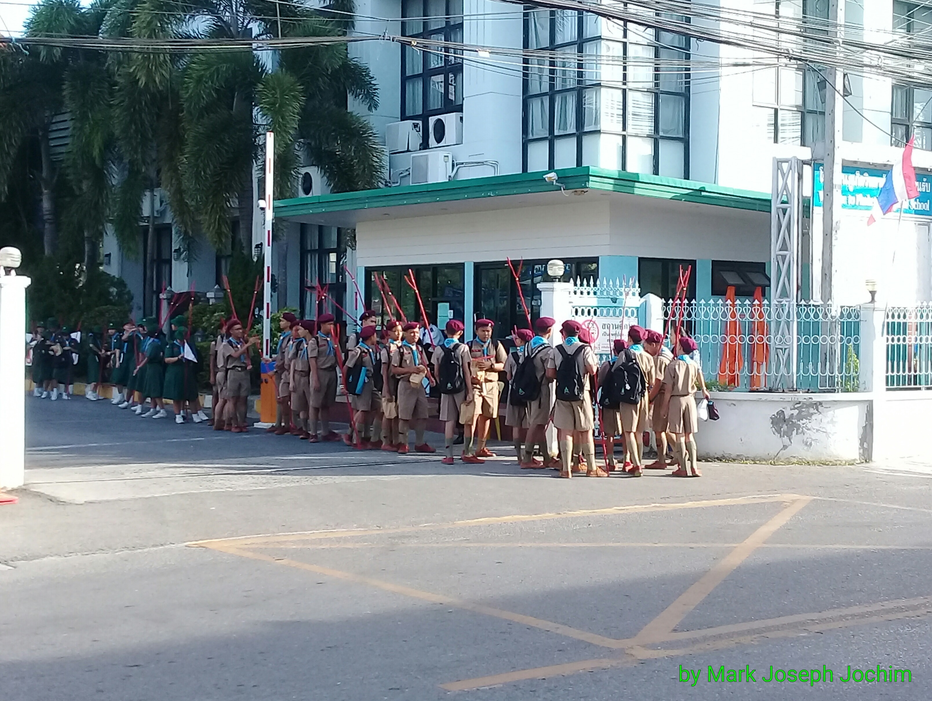 A parade of Scouts outside of Phuket Witthayalai School early Saturday morning.