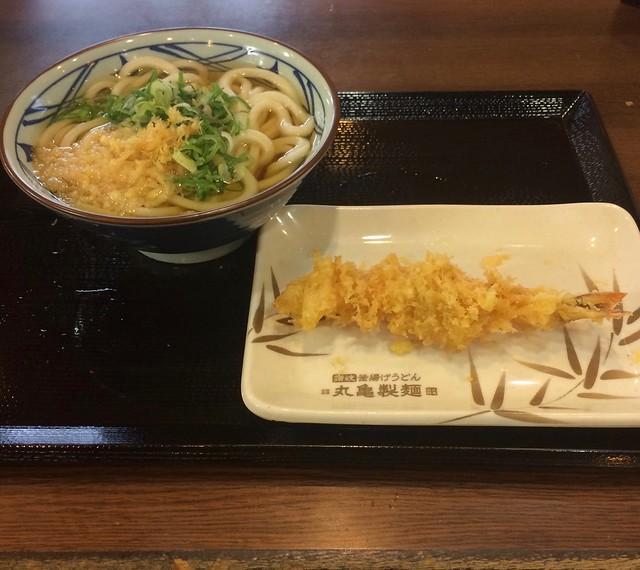 Shrimp tempura with udon noodles