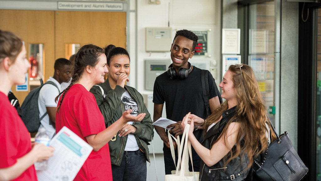Prospective applicants talking to a student ambassador at an Open Day
