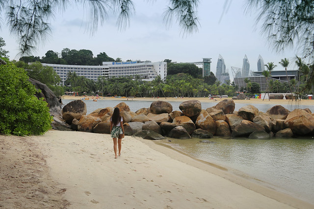 Samantha at a little deserted bounty beach on Sentosa island