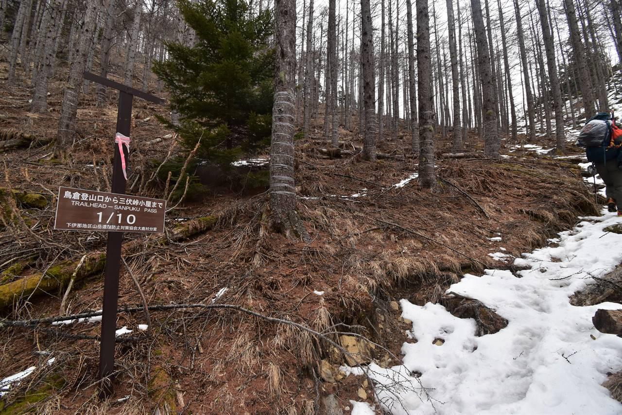 鳥倉登山口から三伏峠小屋までの標識