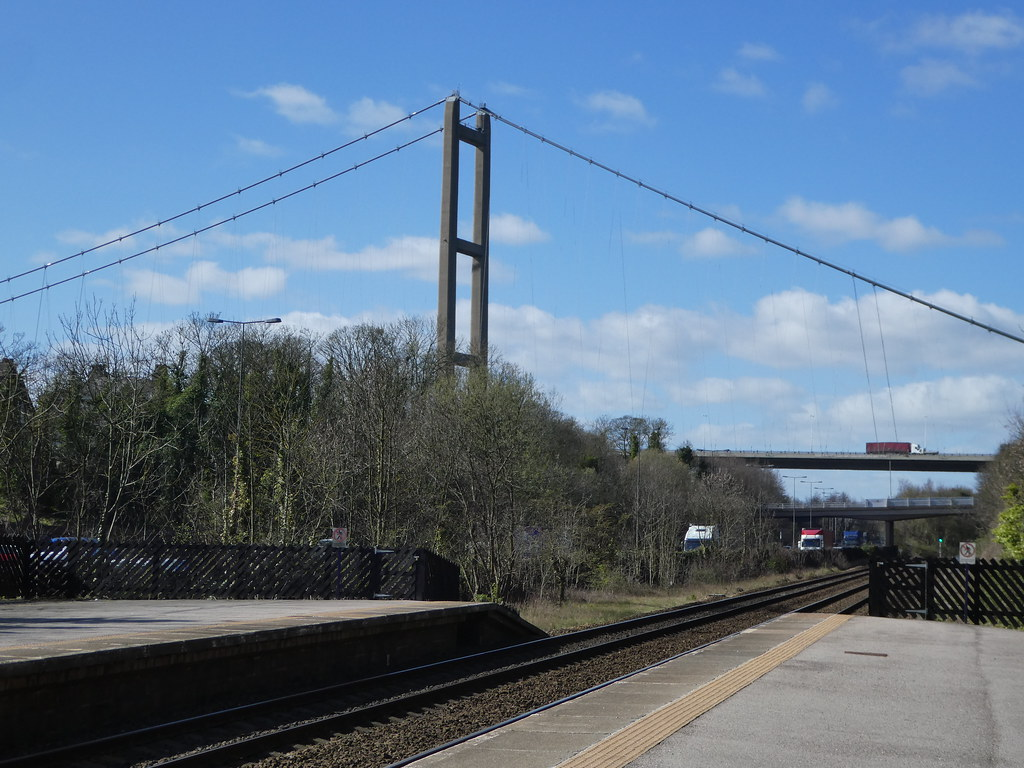 Humber Bridge viewed from the platform at Hessle Station