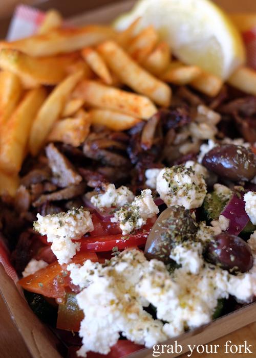 Greek salad with pork souvlaki meat at Niko's Kitchen in Dulwich Hill