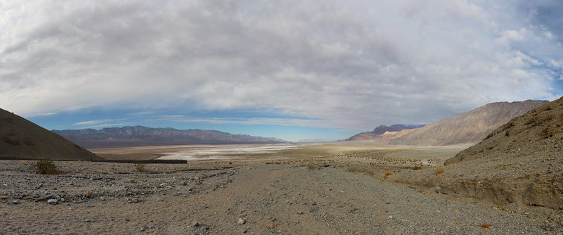 Panorama shot looking north up Death Valley from the mouth of Sidewinder Canyon