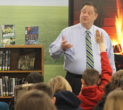 Rep. Bolinsky participates in 2019 World Read Aloud Day at Newtown Middle School.