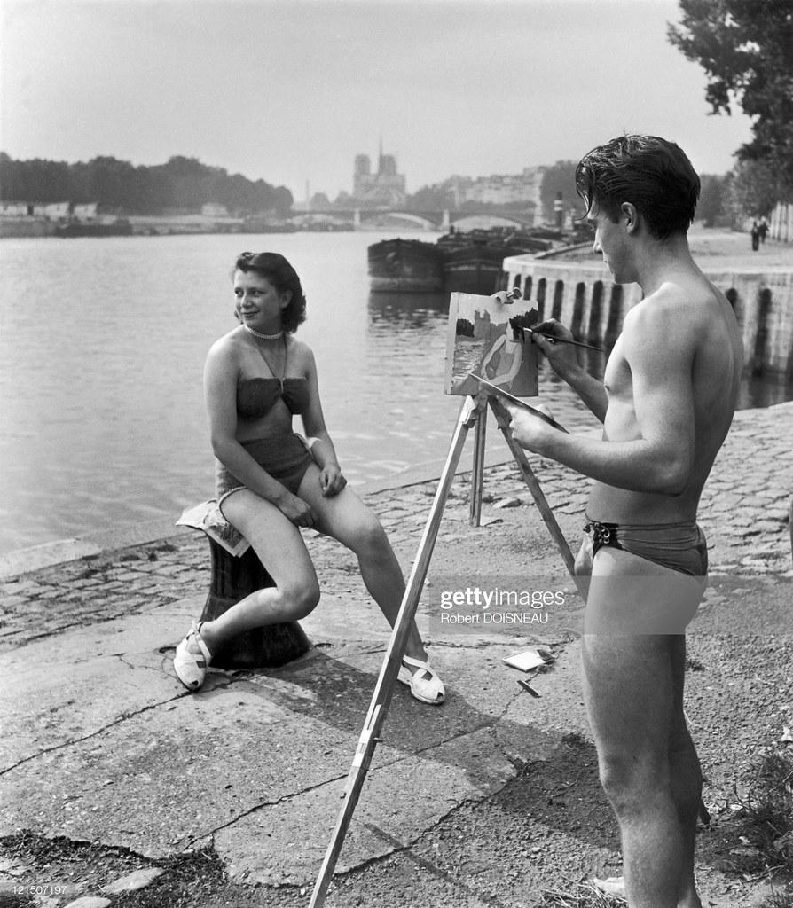 1947. Юноша рисует свою возлюбленную в Париже