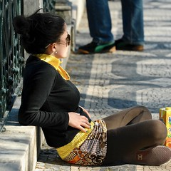 Girl enjoying the Lisbon sun