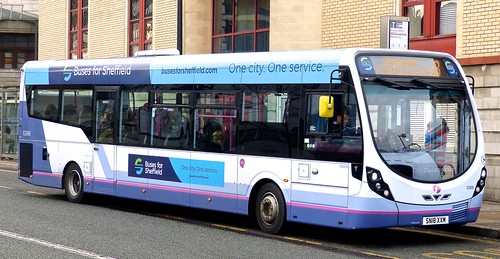 SN18 XXM 'First South Yorkshire' No. 63906. 'Buses for Sheffield'. Wright Streetlite D/F 'on Dennis Basford's railsroadsrunways.blogspot.co.uk'