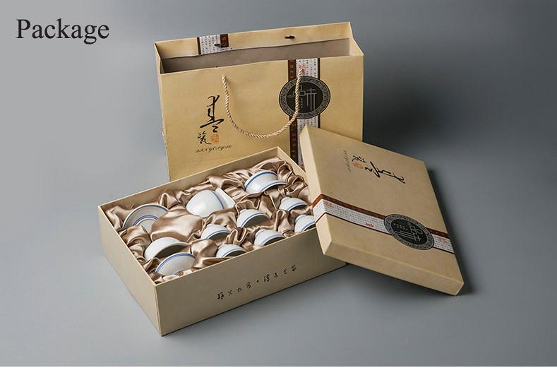 Porcelain Tea Sets including 1 GaiWan, 1 GongDaoBei, 1 Strainer, 6 Cups
