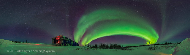 Arc of the Auroral Oval and the Winter Sky