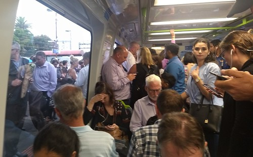 Crowded train and platform at Caulfield during service delays | by Daniel Bowen