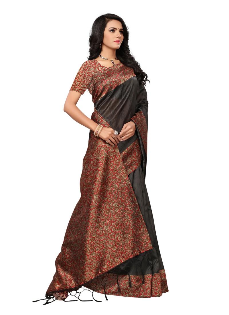 Brown Color Printed Mysore kalamkari Silk with jhalor Saree With Blouse