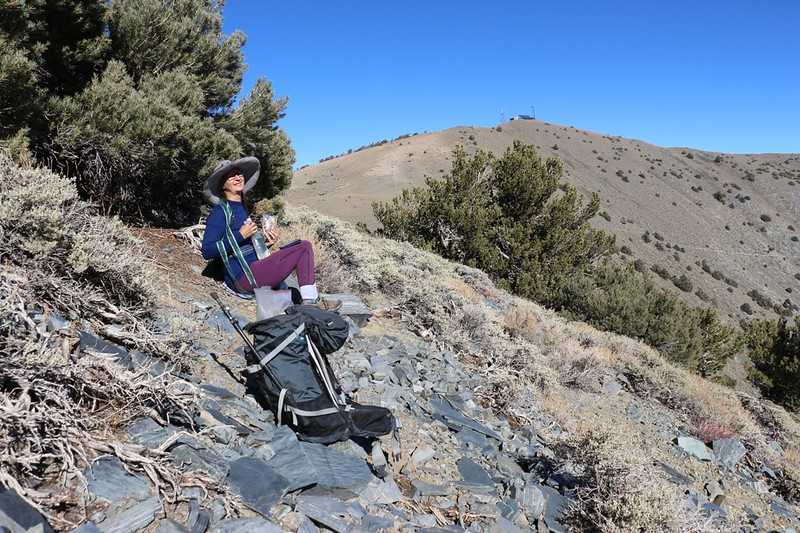 We found a spot out of the wind and ate lunch just north of Bennet Peak, Rogers Peak in the background