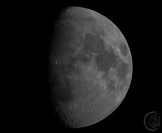 69.6% Waxing Gibbous Moon [2019.02.14] MONO