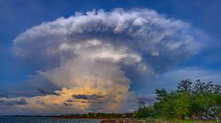 Sunset storm over Shoal Bay, Darwin Harbour, NT, Australia