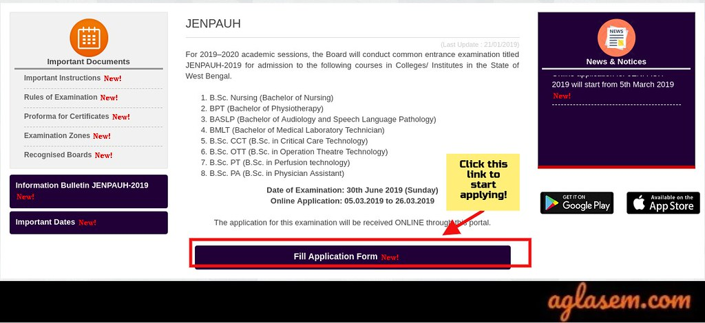 WBJEEB JENPAUH 2019 Application Form
